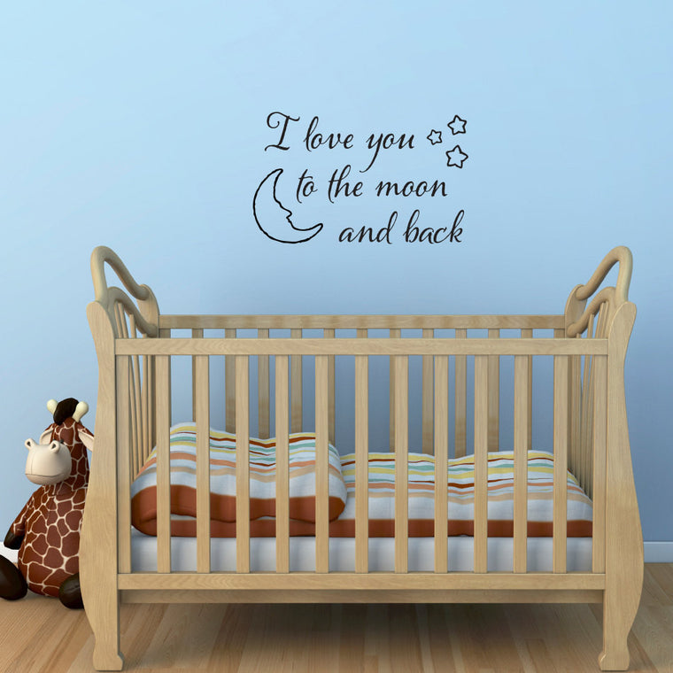 I Love You to the Moon and Back Wall Decal - Medium