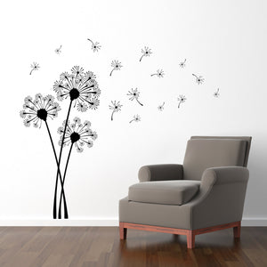 Dandelion Wall Decal - Dandelion Seeds blowing in the wind Sticker - Flower Decor - Large