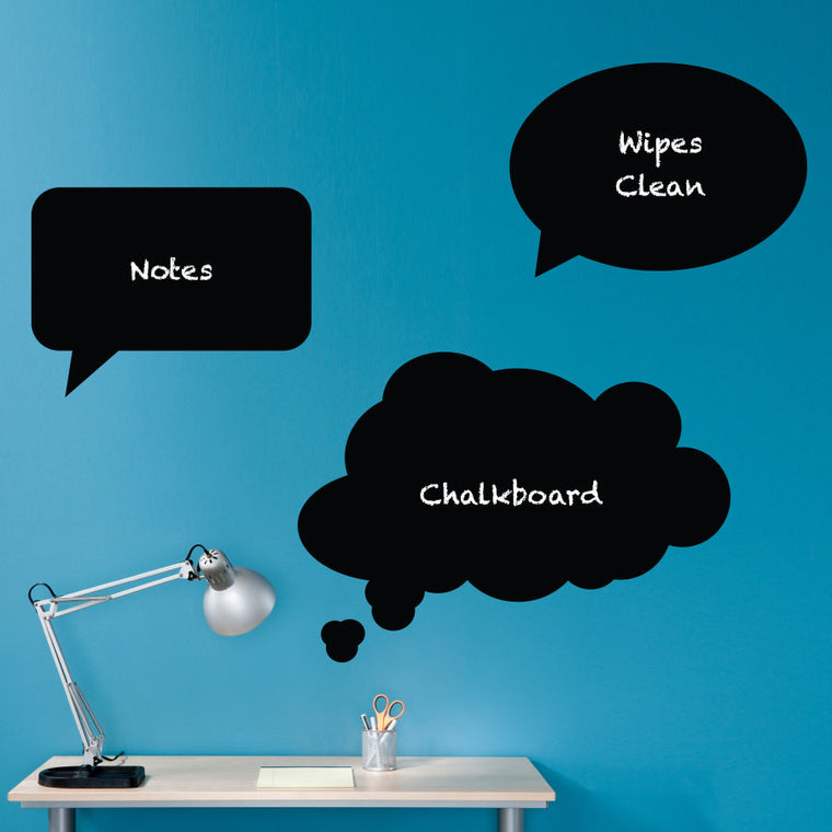 Thought Bubbles Chalkboard Wall Decals - Set of 3 - Speech Bubbles - Extra Large Set