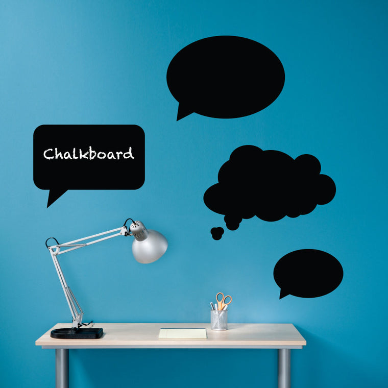 Thought Bubbles Chalkboard Vinyl Wall Art Decals - Set of 4 Speech Bubbles