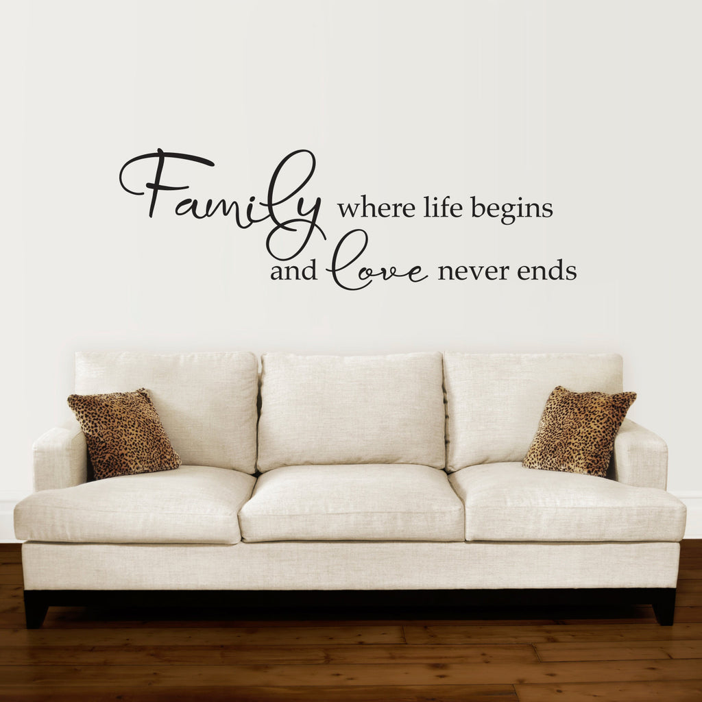 Family Where Life Begins and Love Never Ends- Extra Large