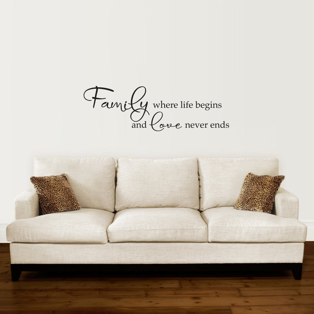 Family Where Life Begins and Love Never Ends Wall Decal - Large