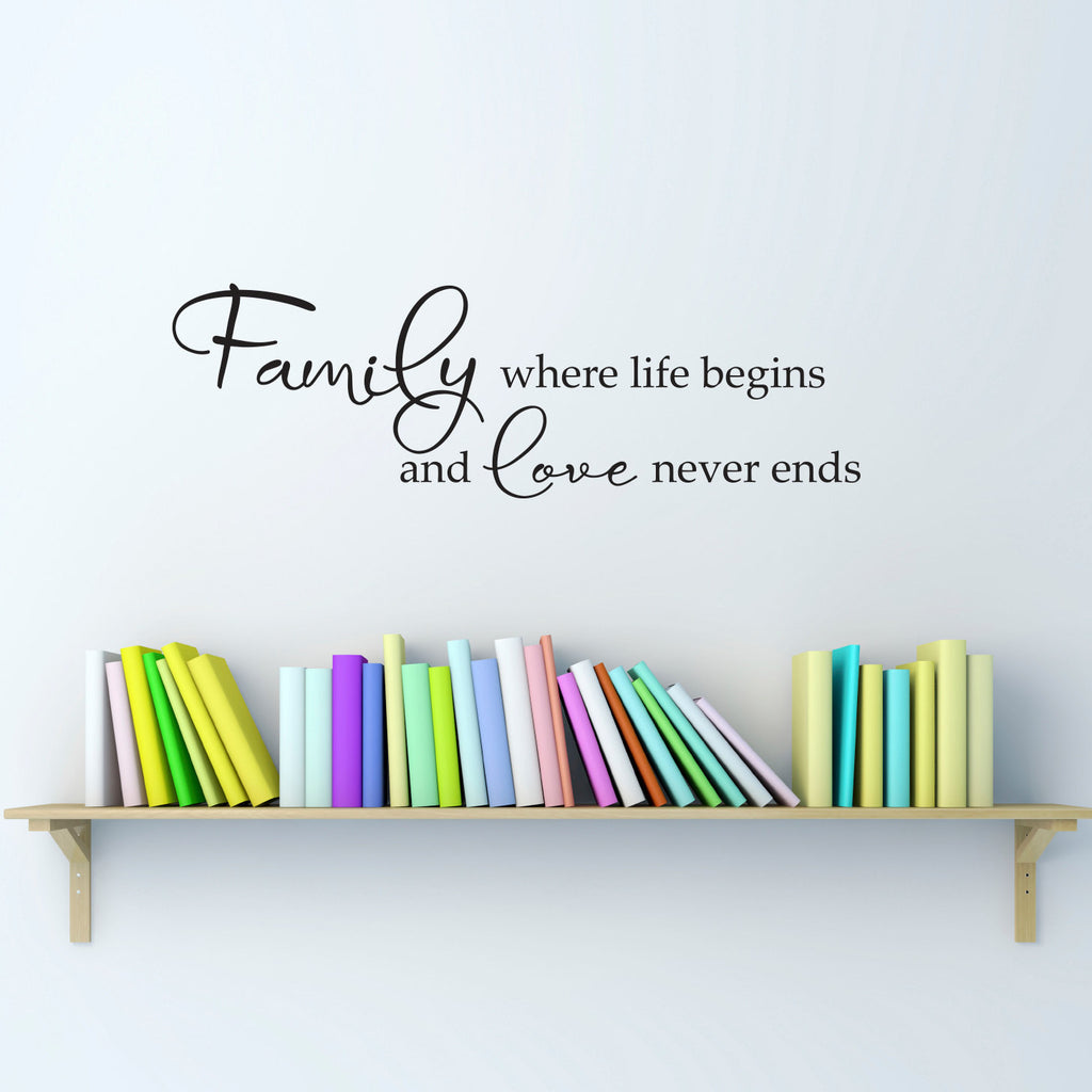 Family Where Life Begins and Love Never Ends Wall Decal - Medium