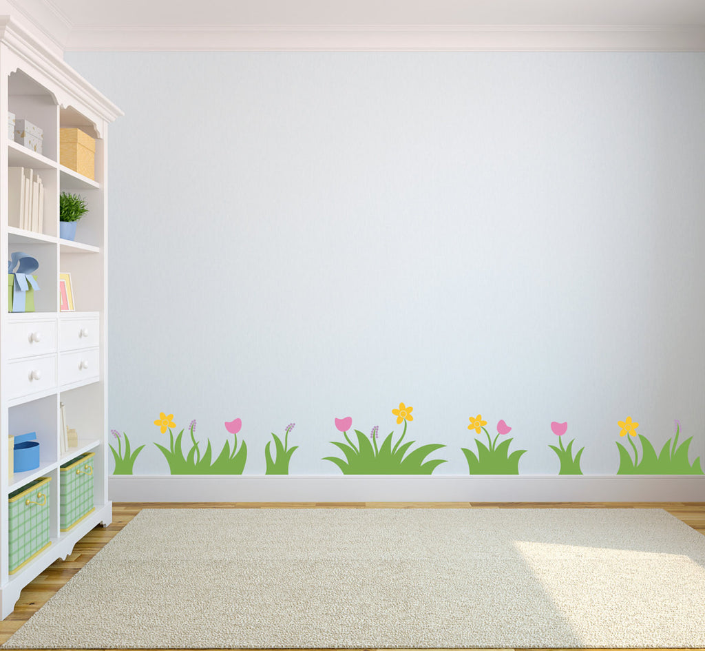 Grass and Flowers Wall Decal - Set of 7