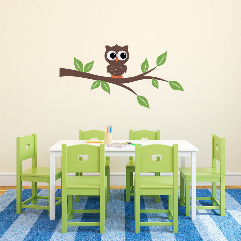 Cute Owl on a Branch Wall Decal - Medium