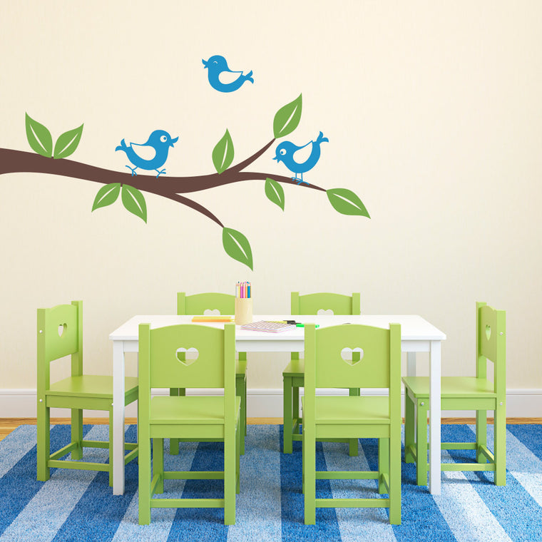 Cutie Birds on a Branch Wall Decal - Large