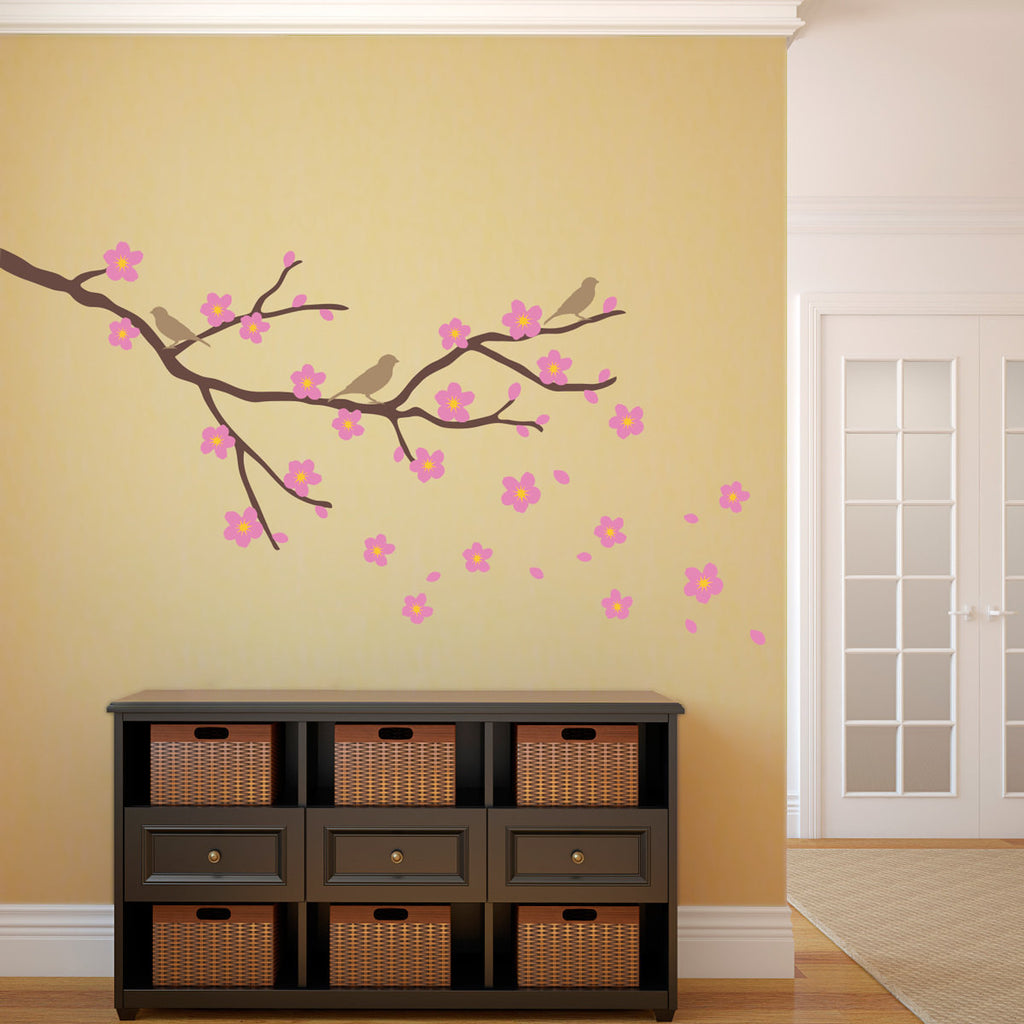 Cherry Flower and Branch with Birds Wall Decal - Large