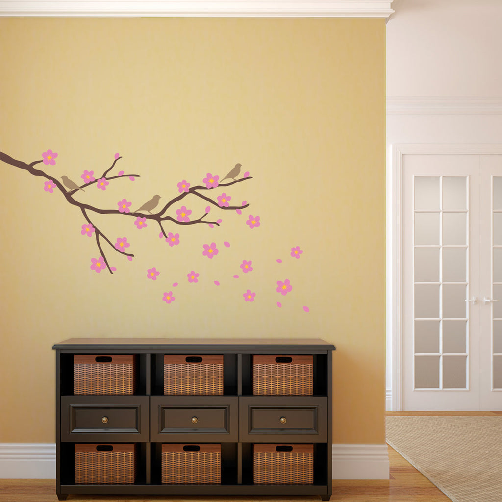 Cherry Blossom and Branch with Birds Wall Decal - Medium