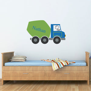 Cement Truck with Personalized Name Wall Decal