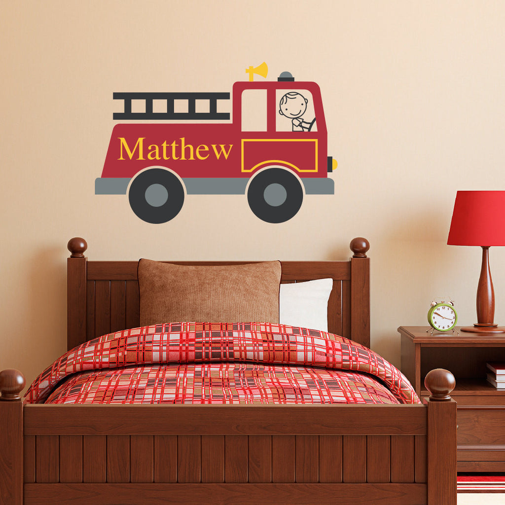 Personalized Firetruck Wall Decal