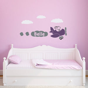 Girls Airplane Wall Decal