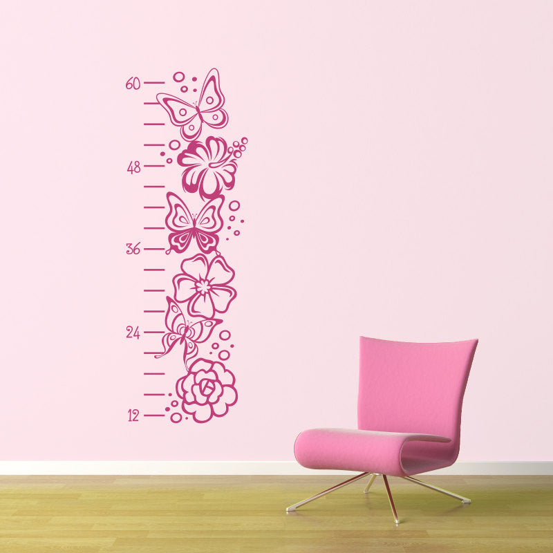 Butterflies And Flowers Growth Chart Wall Decal