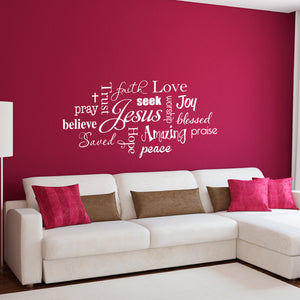 Jesus Subway Art Large Christian Wall Decal