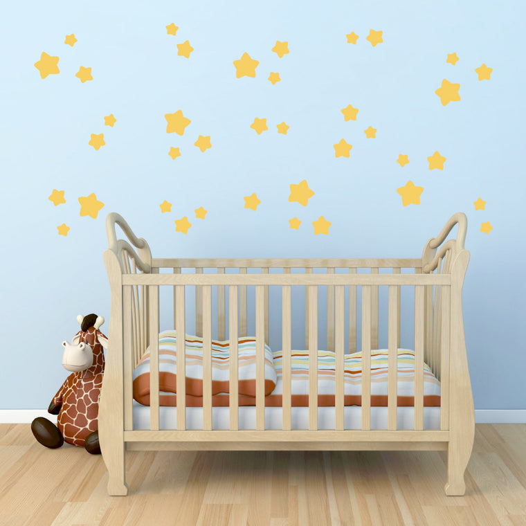 Twinkle Star Wall Decal - Set of 38 Stars - Star Wall Stickers - Children Wall Decals