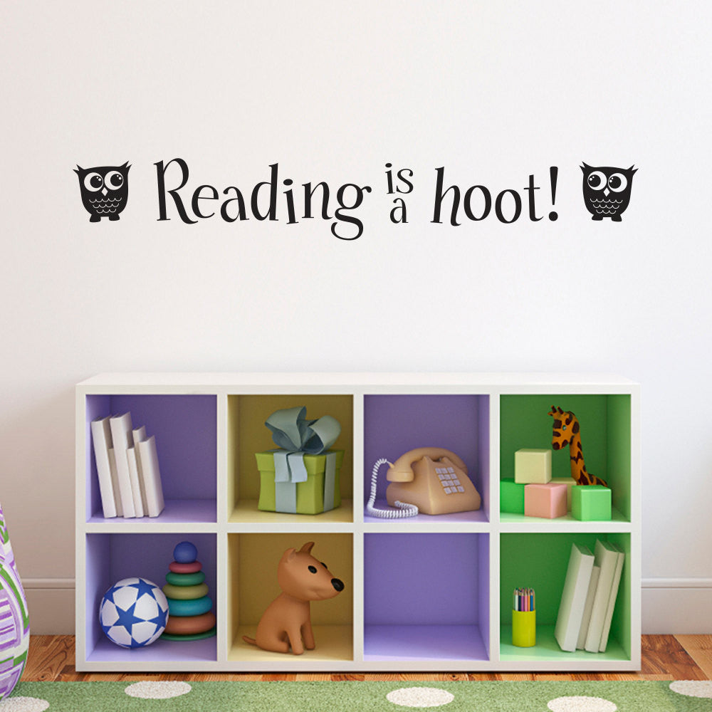 Reading Wall Decal - Reading is a hoot Phrase Decal - Children Wall Decals - Large