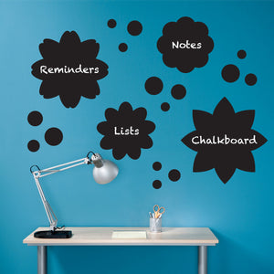 Set of 19 Flowers and Polka Dots Chalkboard Wall Decals