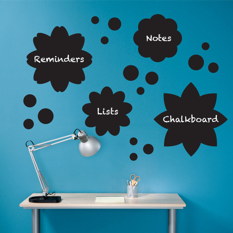 Flowers and Polka Dots Chalkboard Decal - Set of 19