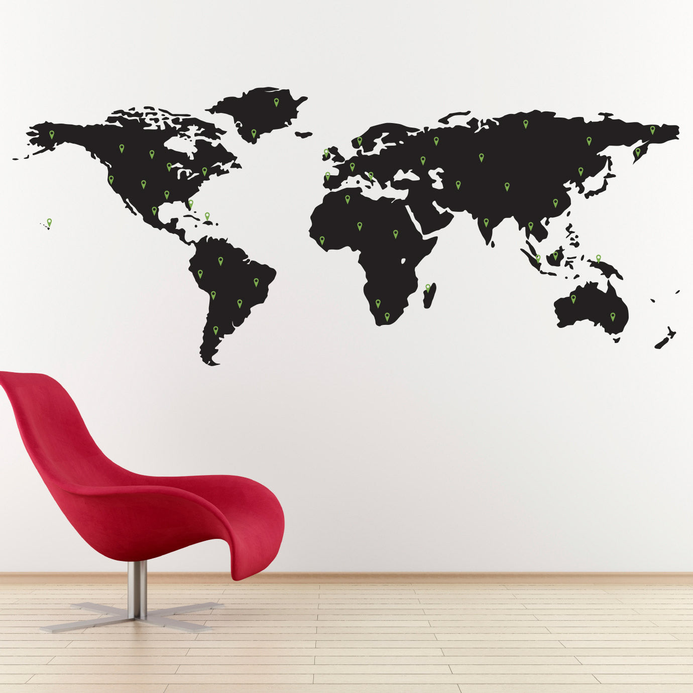 World Map Decal With 50 Marking Pins   Geography Wall Art   Large Part 33