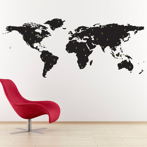 World Map with Set of 50 Marking Pins Large Geography Wall Art Decal