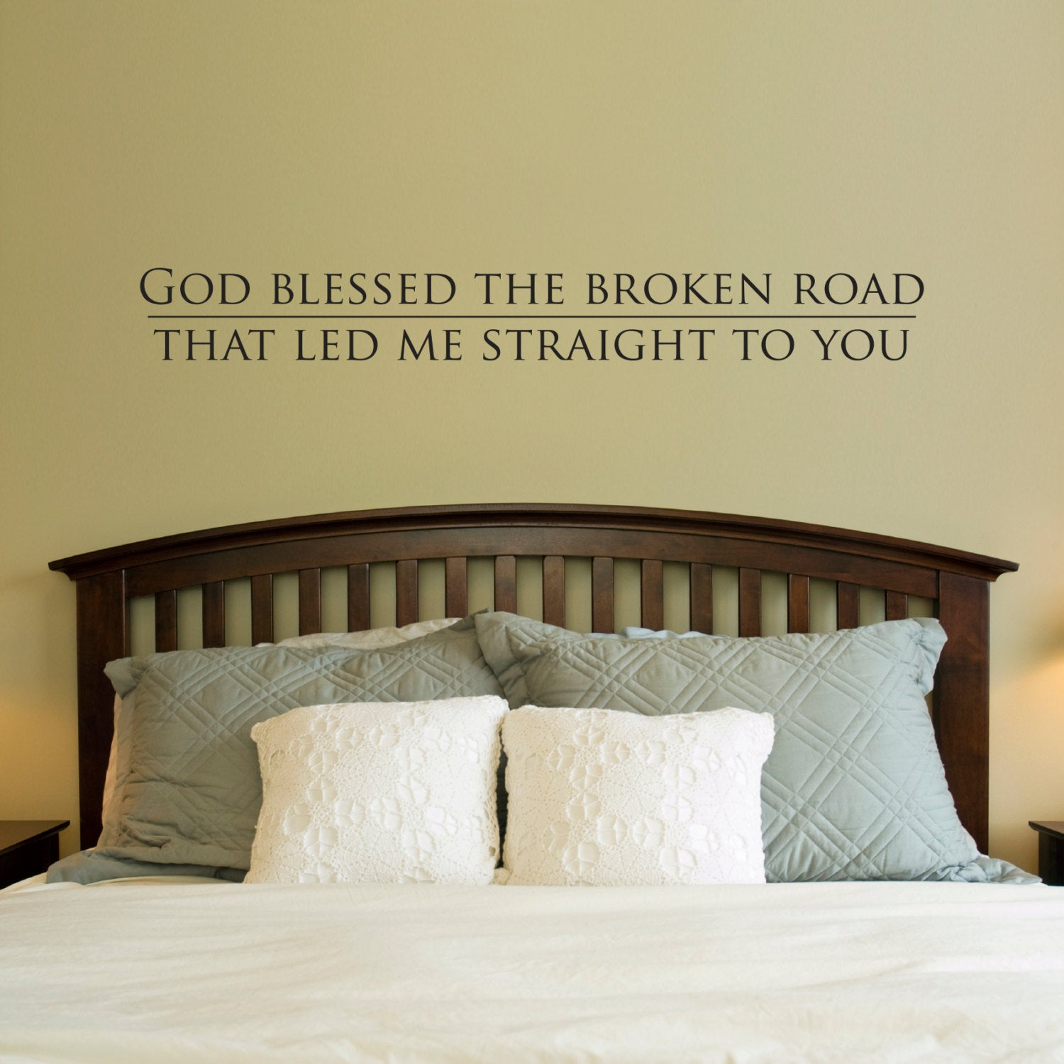 God Blessed The Broken Road Decal   Wall Decal Quote   Bedroom Decal    Stephen Edward Graphics
