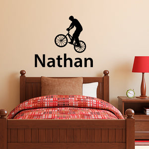 Bike with Personalized Name Wall Decal