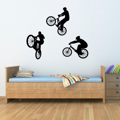Bike Wall Decal - Set of Three BMX Bikers - Children Wall Decals - Large  sc 1 st  Stephen Edward Graphics : bicycle wall decal - www.pureclipart.com