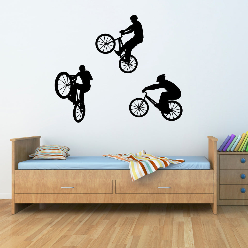 Kids decals stephen edward graphics bike wall decal set of three bmx bikers large amipublicfo Choice Image