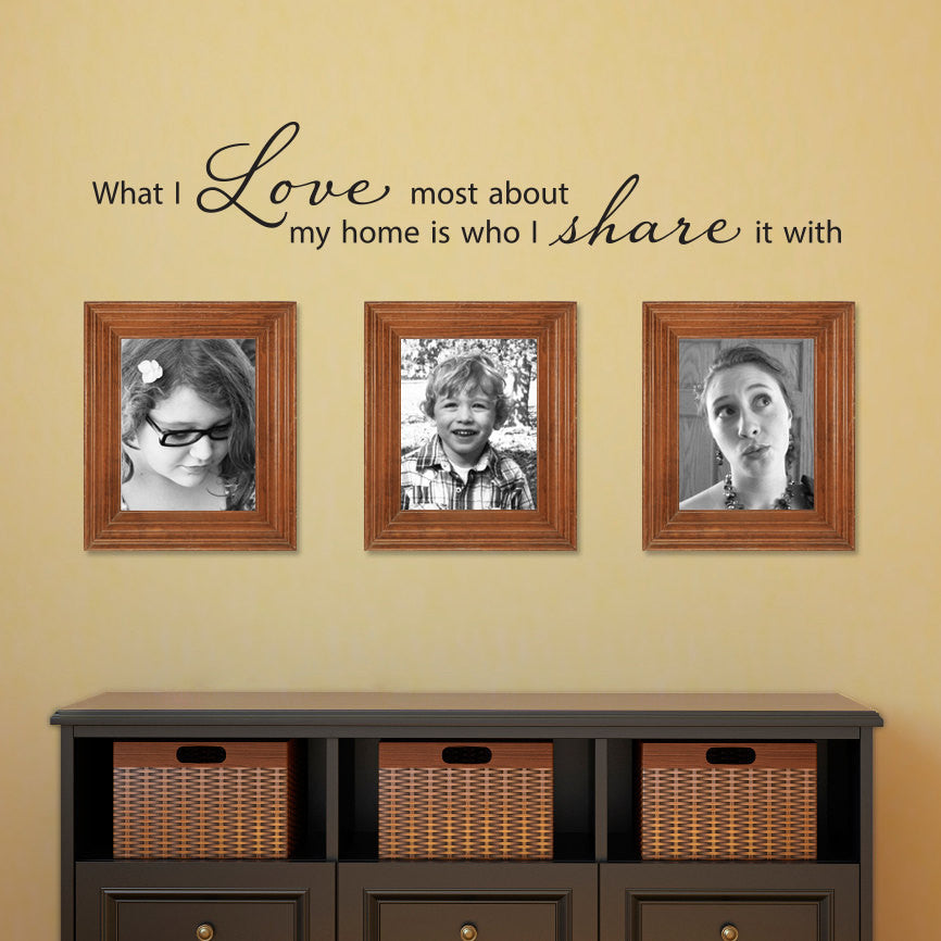 What I Love Most About My Home is Who I Share it With Wall Decal - Medium
