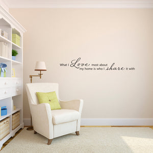 What I Love Most About My Home Large Wall Decal