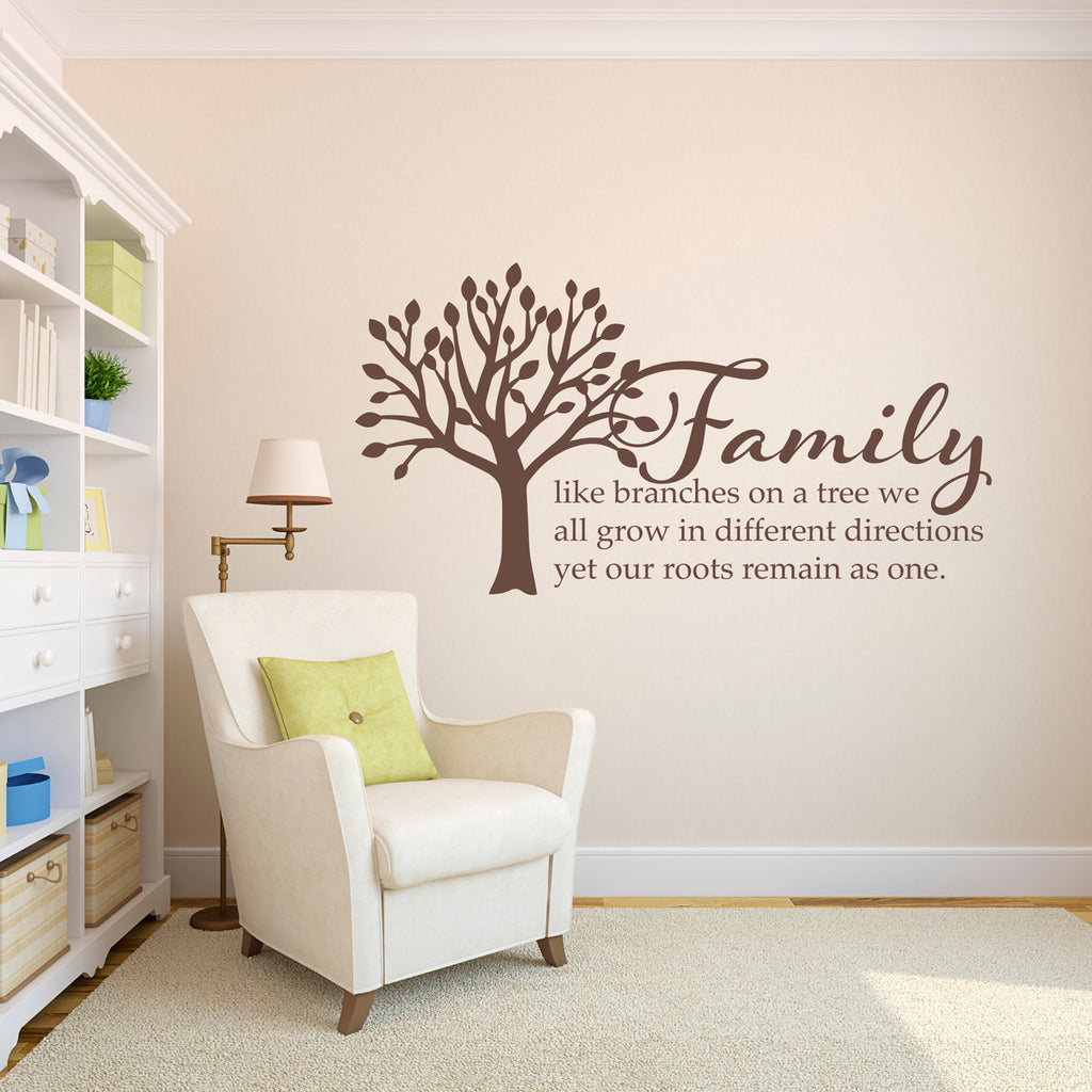 Tree Wall Decal - Family like branches on a tree Phrase Wall Decal - Large Wall Saying
