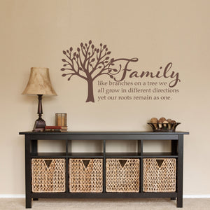 Family Like Branches on a Tree Medium Wall Decal Quote