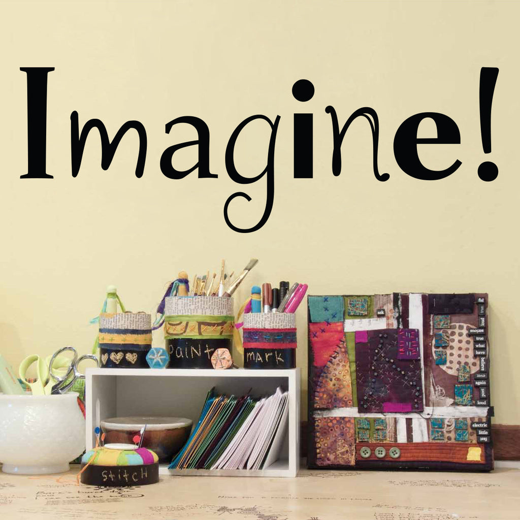 Imagine Wall Decal - Craft Room or Art Studio Wall Decal - Medium