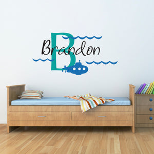Submarine Initial and Personalized Name Large Wall Decal Set