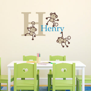 Monkey Initial and Personalized Name Medium Wall Decal Set