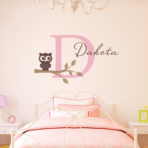 Owl on a Branch Initial and Personalized Name Large Wall Decal Set