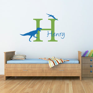 T-Rex and Pterodactyl Initial and Personalized Name Wall Decal Set