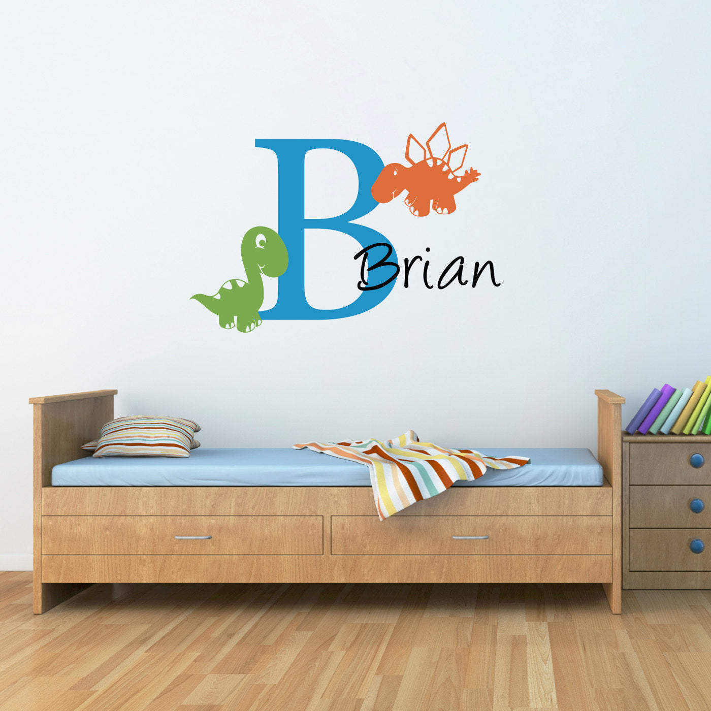 Initial name wall decal with cute dinosaurs boy bedroom wall initial name wall decal with cute dinosaurs boy bedroom wall sticker dinosaur decor large amipublicfo Images