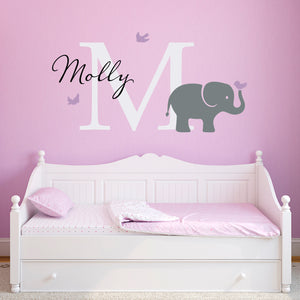 Elephant and Birds Initial and Personalized Name Large Wall Decal Set