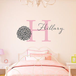 Chrysanthemum Flower Initial and Personalized Large Wall Decal Set