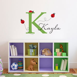 Ladybugs Initial and Personalized Name Medium Wall Decal Set