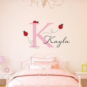 Ladybug Initial and Personalized Name Large Wall Decal Set