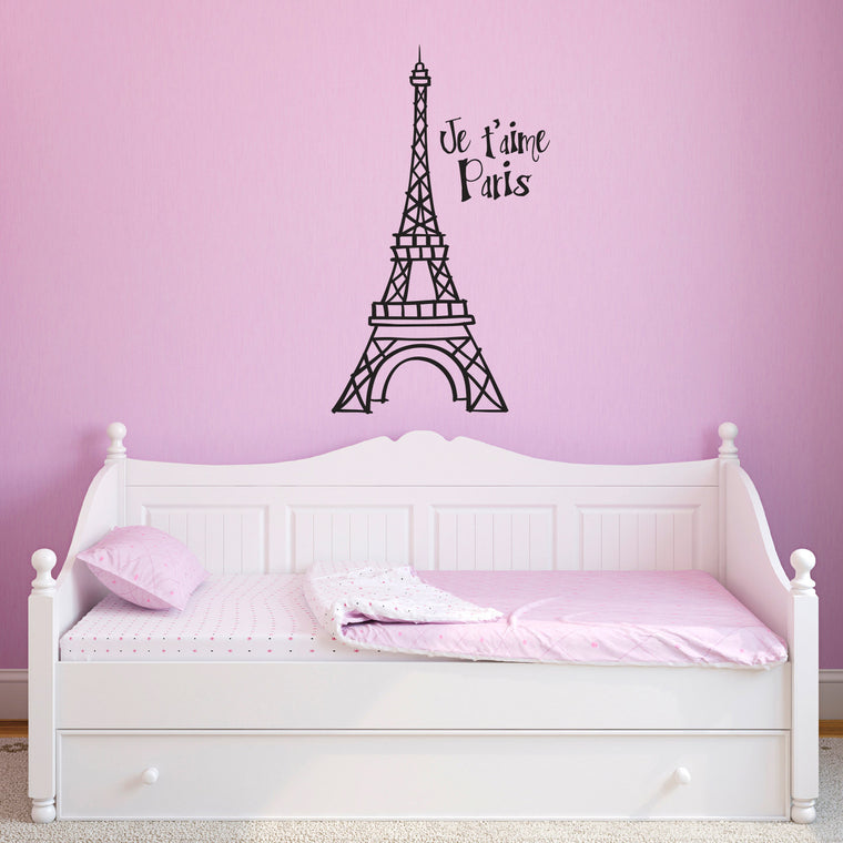 Eiffel Tower - Je t'aime Paris Wall Decal - Large