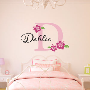 Hibiscus Flowers Initial and Personalized Name Large Wall Decal Set