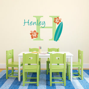 Surfboard and Hibiscus Flowers Initial and Personalized Name Medium Wall Decal Set