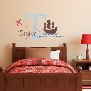 Pirate Ship Initial and Personalized Name Medium Wall Decal Set