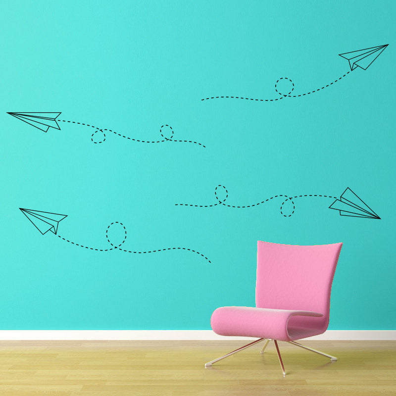 Flying Paper Airplanes Wall Decal - Large