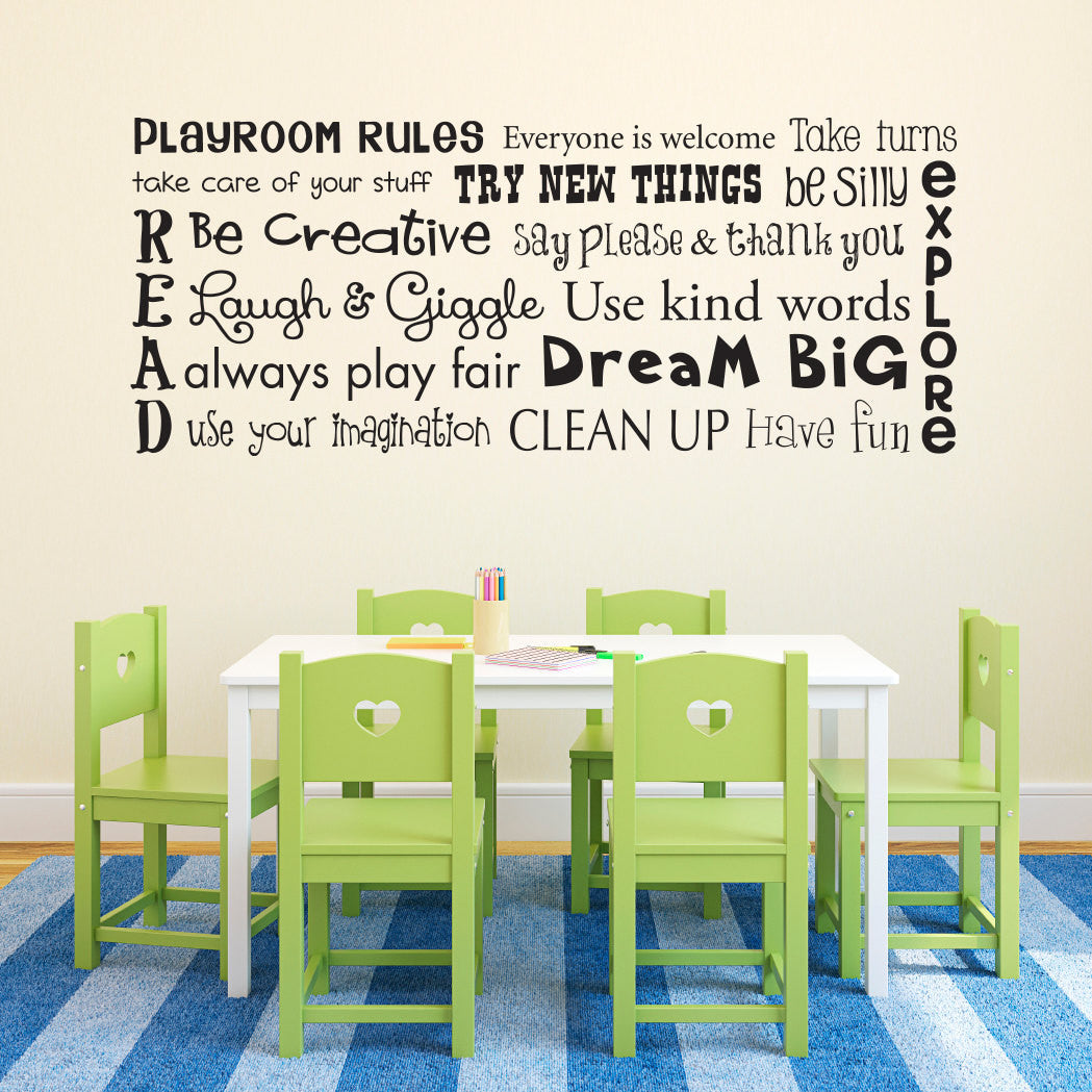 Playroom rules wall decal children wall decal sticker playroom rules wall decal children wall decal sticker horizontal large amipublicfo Images