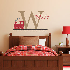 Train Initial and Personalized Name Medium Wall Decal Set