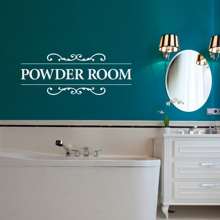 Powder Room Wall Decal - Bathroom Decal - Powder Room Wall Sticker - Large