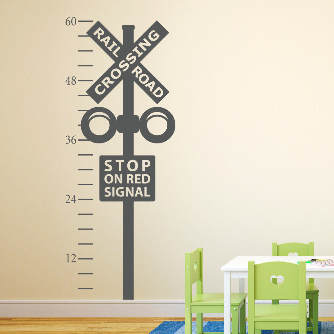 Railroad crossing growth chart decal train crossing wall decal